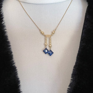 Edwardian 9ct Gold, Pearl & Sapphire Negligee Necklace