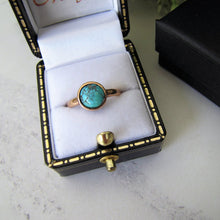 Load image into Gallery viewer, Victorian Bezel Ring, Turquoise, 9ct Rose Gold