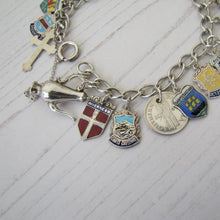 Load image into Gallery viewer, Vintage 1960s Sterling Silver Retro Charm Bracelet, World Travel