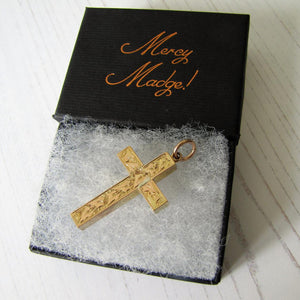 Victorian 15ct Gold Engraved Cross Pendant - MercyMadge