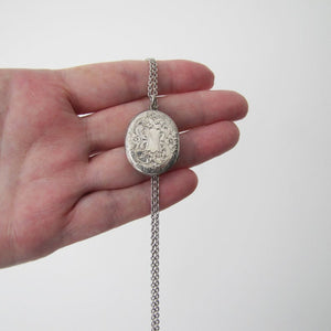 Victorian Sterling Silver Mizpah Locket On Chain - MercyMadge