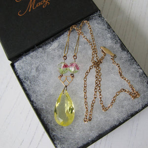 Art Deco Iris Glass Lavalier Pendant Necklace - MercyMadge