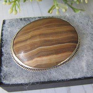 Victorian Scottish Banded Agate Silver Brooch