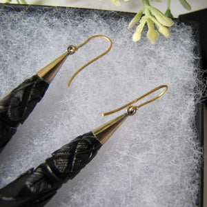 Victorian Whitby Jet Long Torpedo 9ct Gold Earrings, Carved Roses,