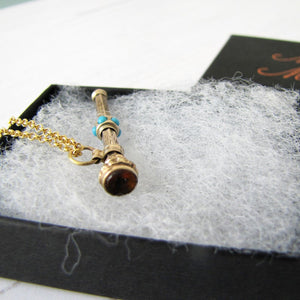 Victorian 15ct Gold & Turquoise Pencil Pendant Fob - MercyMadge