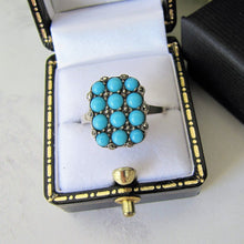 Laden Sie das Bild in den Galerie-Viewer, Art Deco 835 Silver & Pave Set Turquoise Ring - MercyMadge