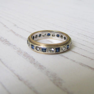 Vintage 9ct Gold, Sapphire & CZ Diamond Eternity Ring