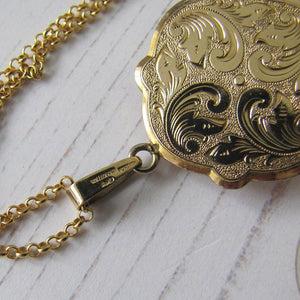 Edwardian Revival Rolled Gold Engraved Fern Locket, Andreas Daub, Germany