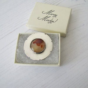 Art Nouveau Sterling Silver Agate Brooch - MercyMadge