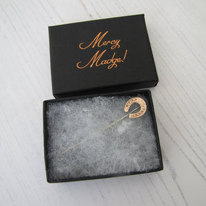 Victorian 9ct Rose Gold Engraved Horseshoe Stick Pin - MercyMadge