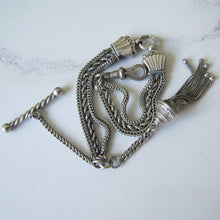 Load image into Gallery viewer, Victorian Silver Albertina Bracelet with Shell Charms, Tassel, T-Bar & Dog Clip