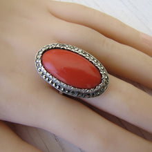 Load image into Gallery viewer, Art Deco Silver Marcasite & Red Coral Ring