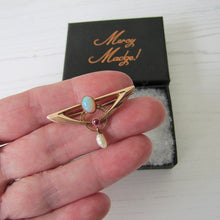 Load image into Gallery viewer, Murrle Bennett Art Nouveau Opal, Ruby & Pearl 9ct Gold Brooch - MercyMadge