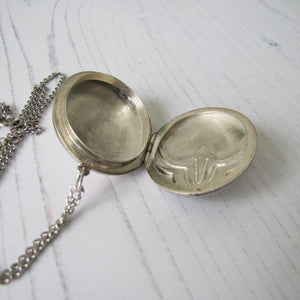 Vintage Art Deco Revival Sterling Silver Locket & Long Chain