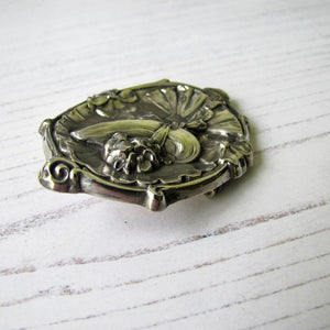 "Antique 1904 Art Nouveau Sterling Silver ""Gibson Girl"" Portrait Brooch. - MercyMadge"