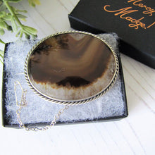 Load image into Gallery viewer, Antique Victorian Scottish Agate Sterling Silver Brooch