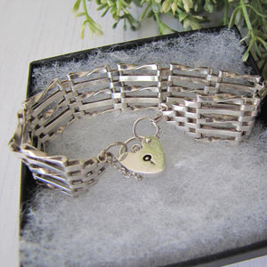 Vintage Silver Gate Bracelet With Heart Padlock, London 1979