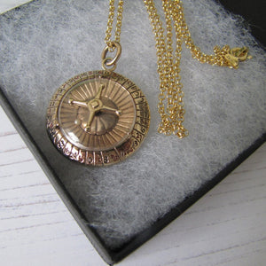 Vintage 1960's 9ct Gold Spinning Roulette Pendant - MercyMadge