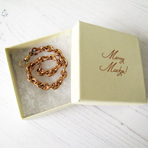 Antique Rolled Rose Gold Watch Chain Bracelet - MercyMadge