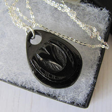 Load image into Gallery viewer, Victorian Whitby Jet Carved Horseshoe Pendant & Silver Chain