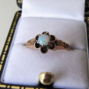 Victorian Opal & Rose Gold Flower Ring