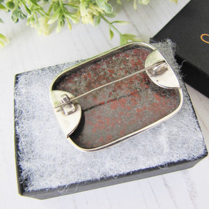 Antique Scottish Silver & Jasper Brooch
