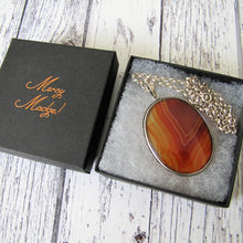 Load image into Gallery viewer, Antique Victorian Scottish Banded Agate Silver Pendant Necklace - MercyMadge