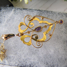 Load image into Gallery viewer, Art Nouveau 9ct Gold and Amethyst Pendant Necklace