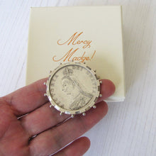 Load image into Gallery viewer, Queen Victoria Full Silver Crown Coin Brooch - Mercy Madge