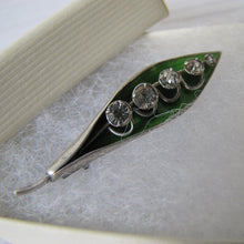 Load image into Gallery viewer, Edwardian Silver Enamel Brooch, Lily of the Valley - MercyMadge
