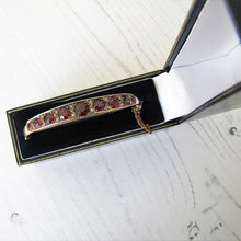 Load image into Gallery viewer, Antique 9ct Rose Gold Garnet & Mine Cut Diamond Bracelet. - MercyMadge
