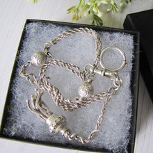 "Load image into Gallery viewer, Victorian Sterling Silver 13"" Albertina Chain With Charms, Tassel, Bolt Ring & Dog Clip"