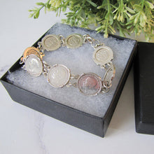 Load image into Gallery viewer, Vintage British 1930s 'Thrup'nny Bit' Silver Coin Bracelet