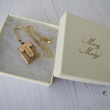 Load image into Gallery viewer, Vintage Victorian Style Gold Book Locket & Chain - MercyMadge