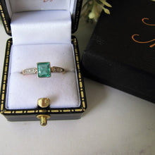 Load image into Gallery viewer, Art Deco Emerald & Diamond Engagement Ring