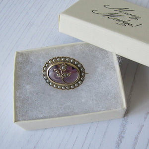 Antique 9ct Gold, Amethyst & Seed Pearl Tulip Brooch - Mercy Madge