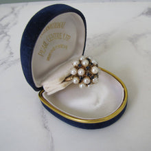 Load image into Gallery viewer, Pearl & Sapphire Cluster Ring, 14ct Yellow Gold