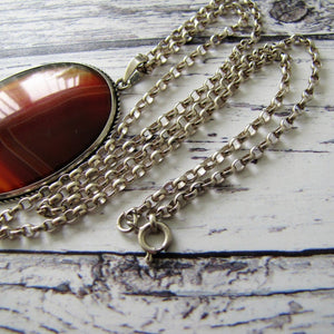Antique Victorian Scottish Banded Agate Silver Pendant Necklace - MercyMadge