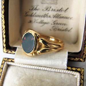 Victorian 18ct Gold Bloodstone Ring - MercyMadge