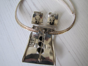 Margot De Taxco Sterling Silver Pendant & Earring Set, Mexico, 1950's - MercyMadge