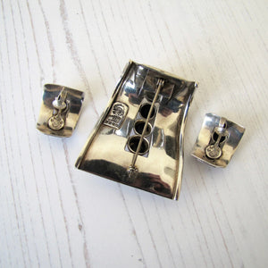 Margot De Taxco Sterling Silver Pendant & Earring Set, Mexico, 1950's - Mercy Madge