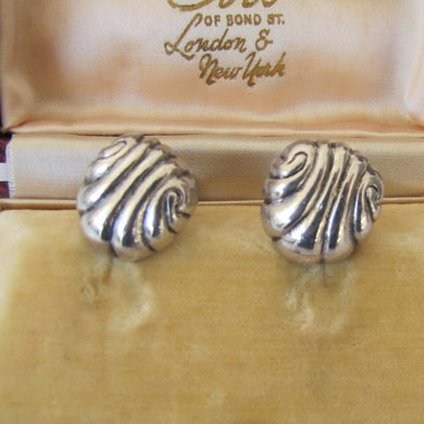 William Spratling 1940s Taxco Silver Shell Earrings - MercyMadge