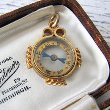 Load image into Gallery viewer, Antique Gold Gilt Compass Pendant Fob - Mercy Madge