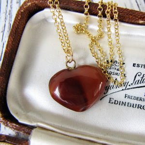 Victorian Carved Hardstone Heart Pendant Necklace - MercyMadge