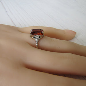 Art Deco 9ct Gold Citrine Ring - MercyMadge