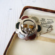 Load image into Gallery viewer, Vintage Scottish Silver Agate & Citrine Thistle Brooch - MercyMadge