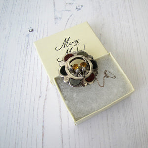Vintage Scottish Silver Agate & Citrine Thistle Brooch - MercyMadge