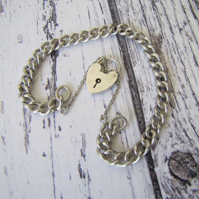 Vintage Sterling Silver Curb Chain Bracelet, Heart Padlock Clasp. English Watch Chain Sweetheart Bracelet. Romantic Gifts For Her