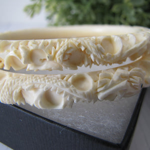 Antique Pair Chinese Carved Ivory Dragon Bangles