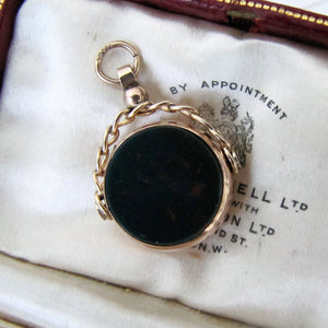 Antique 9ct Gold Bloodstone & Carnelian Spinner Fob. - MercyMadge